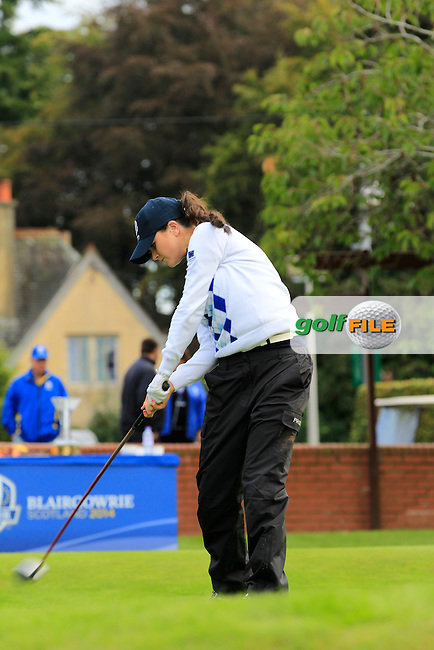 Annabel Dimmock (ENG) on the 1st tee during Day 2 Singles for the Junior Ryder Cup 2014 at Blairgowrie Golf Club on Tuesday 23rd September 2014.<br /> Picture:  Thos Caffrey / www.golffile.ie