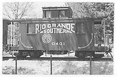 RGS caboose #0401 on display in Boulder.<br /> RGS  Boulder, CO  Taken by Maxwell, John W. - 5/31/1953