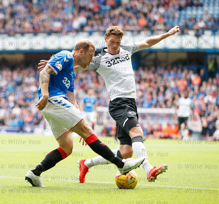 28.07.2019 Rangers v Derby County: Scott Arfield and George Evans