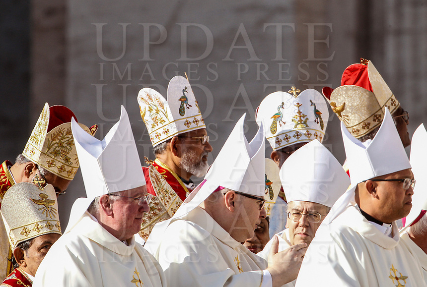 Cardinals attend a Mass celebrated by the Pope for the canonization of the blessed Giovanni Enrico Newman, Giuseppina Vannini, Maria Teresa Chiramel Mankidiyan, Dulce Lopes Pontes and Margarita Bays, in St. Peter's Square at the Vatican, October 19, 2019. UPDATE IMAGES PRESS/Riccardo De Luca <br /> <br /> STRICTLY ONLY FOR EDITORIAL USE