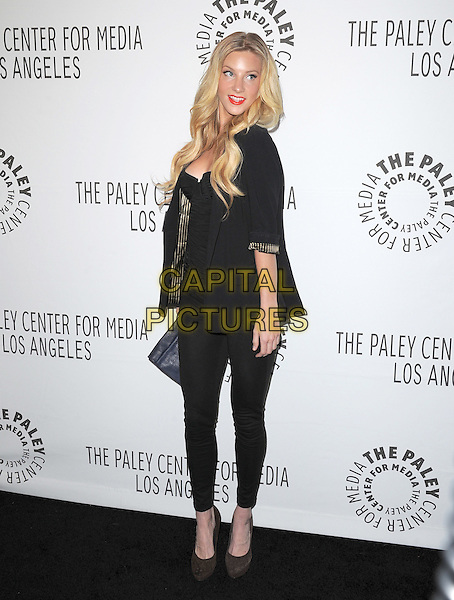 HEATHER MORRIS .at The PaleyFest 2011 Panel for Glee held at The Saban Theater in Beverly Hills, California, USA, March 16th,2011..full  length jacket blazer blue clutch bag bustier ruched  black  leggings  trousers jeggings brown shoes                                        .CAP/RKE/DVS.©DVS/RockinExposures/Capital Pictures.