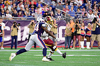August 9, 2018: New England Patriots defensive back J.C. Jackson (34) tackles Washington Redskins wide receiver Robert Davis (19) during the NFL pre-season football game between the Washington Redskins and the New England Patriots at Gillette Stadium, in Foxborough, Massachusetts. The Patriots defeat the Redskins 26-17. Eric Canha/CSM