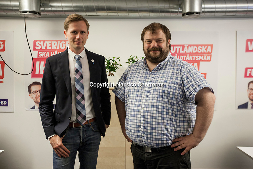 August 30, 2018: ROGER HEDLUND (left), a 38 years-old MP and member of the SD board in Gävle municipality for the Swedish Democrats (Sverigedemokraterna) and RICHARD CARLSSON (right), leader of the Swedish Democrats in Gävle municipality. Roger and Richard are both former workers of the steel factory in Sandvik. The Swedish Democrats party is known for its anti-immigration policy as well as for its links to the extreme right militancy in the country.