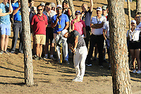 Thorbjorn Olesen (DEN) in the trees for his 2nd shot on the 18th hole during Thursday's Round 1 of the 2018 Turkish Airlines Open hosted by Regnum Carya Golf &amp; Spa Resort, Antalya, Turkey. 1st November 2018.<br /> Picture: Eoin Clarke | Golffile<br /> <br /> <br /> All photos usage must carry mandatory copyright credit (&copy; Golffile | Eoin Clarke)