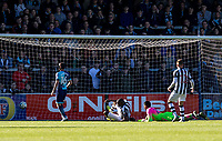 Shola Ameobi of Notts County scores the winning goal during the Sky Bet League 2 match between Wycombe Wanderers and Notts County at Adams Park, High Wycombe, England on the 25th March 2017. Photo by Liam McAvoy.