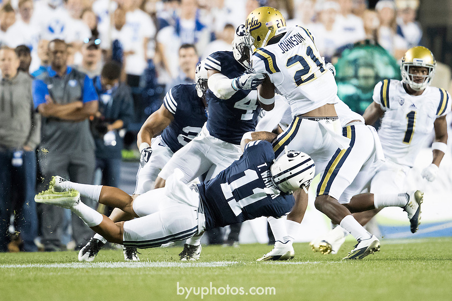 16FTB vs UCLA 0363<br /> <br /> 16FTB vs UCLA<br /> <br /> BYU Football vs UCLA<br /> <br /> BYU-14<br /> UCLA-17<br /> <br /> September 17, 2016<br /> <br /> Photo by Jaren Wilkey/BYU<br /> <br /> &copy; BYU PHOTO 2016<br /> All Rights Reserved<br /> photo@byu.edu  (801)422-7322