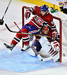 24 September 2009: Montreal Canadiens' defenseman Yannick Weber is checked into his goaltender Jaroslav Halak during a game against the Boston Bruins at the Bell Centre in Montreal, Quebec, Canada. The Bruins edged out the Canadiens 2-1 in an overtime shootout of their pre-season matchup. Mandatory Credit: Ed Wolfstein Photo