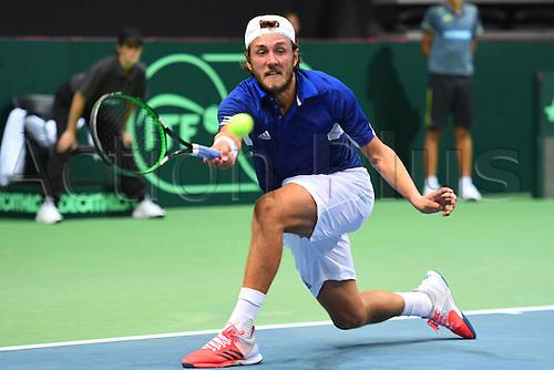 16.09.2016. Zadar, Croatia. Davis Cup tennis. Croatia versus France.  Lucas Pouille (Fra) returns to  versus Marin Cilic (Cro)