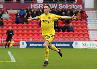 Fleetwood Town's Ashley Hunter celebrates scoring his side's fourth goal <br /> <br /> Photographer David Shipman/CameraSport<br /> <br /> The EFL Sky Bet League One - Doncaster Rovers v Fleetwood Town - Saturday 6th October 2018 - Keepmoat Stadium - Doncaster<br /> <br /> World Copyright &copy; 2018 CameraSport. All rights reserved. 43 Linden Ave. Countesthorpe. Leicester. England. LE8 5PG - Tel: +44 (0) 116 277 4147 - admin@camerasport.com - www.camerasport.com