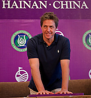 HAIKOU, CHINA - OCTOBER 28:  Hollywood actor Hugh Grant of Great Britain impresses his handprints during a press conference as part of the Mission Hills Star Trophy on October 28, 2010 in Haikou, China. The Mission Hills Star Trophy is Asia's leading leisure liflestyle event and features Hollywood celebrities and international golf stars.  Photo by Victor Fraile / studioEAST