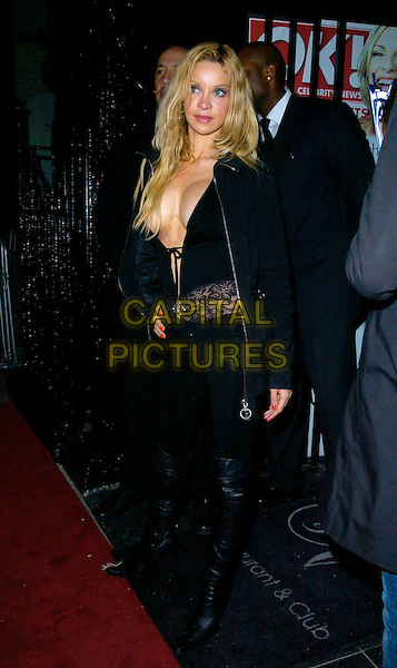 ALICIA DUVALL.At the OK Celebrity Secrets Party at Studio Valbonne, London, UK..March 8th 2007.full length black plunging neckline cleavage douvall lace hand on hip catsuit boots trousers jacket.AP/CAN.©Can Nguyen/Capital Pictures