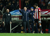 2nd December 2017, Griffen Park, Brentford, London; EFL Championship football, Brentford versus Fulham; Brentford Manager Dean Smith shouting at this players from the touchline