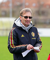 20200226 Kalmthout, BELGIUM : Belgium's assistant coach Luc Bosmans during the warm up before the international friendly soccer match between the national youth Women Under 17 teams of Belgium and the Netherlands, a friendly game in preparation for the UEFA Elite rounds in March in Belgium for the Belgian team, Wednesday 26th of February 2020 at Sportpark Heikant in Kalmthout, BELGIUM. PHOTO: SPORTPIX.BE | Sevil Oktem