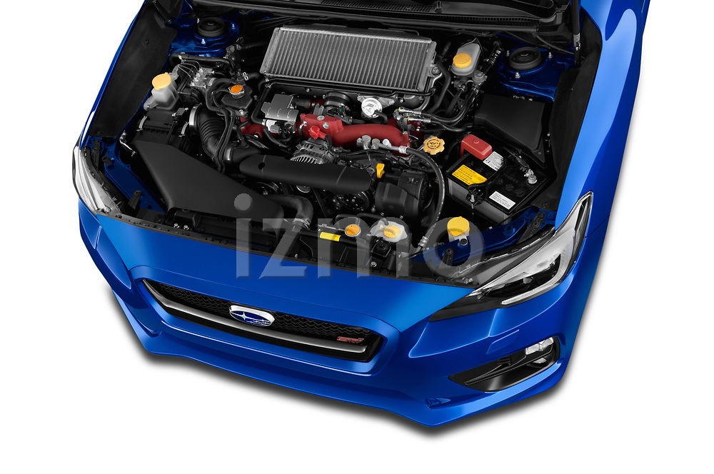 Car stock 2017 Subaru WRX STI Sport Premium 4 Door Sedan engine high angle detail view