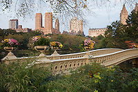 View of Bow Bridge, the Lake, and West Side buildings in New York City's Central Park in the fall.