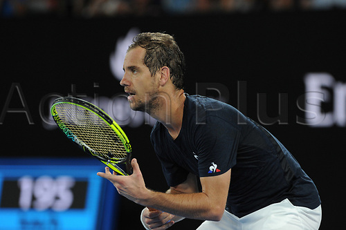 20th January 2018, Melbourne Centre, Melbourne, Australia; Australian Open Tennis;  Melbourne centre - Flinders Park stade - Richard Gasquet France