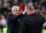 Stoke's Mark Hughes gets annoyed after Manchester United's Jose Mourinho refuses to shake his hnad during the premier league match at the Britannia Stadium, Stoke on Trent. Picture date 9th September 2017. Picture credit should read: David Klein/Sportimage