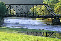 The Lanesboro Bridge over the Root River is now part of a rail to trail conversion and while trains no longer crossit, many hikers and bikers do.