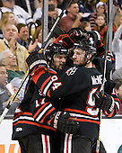 Steve Silva (Northeastern - 17), Tyler McNeely (Northeastern - 94) - The Boston College Eagles defeated the Northeastern University Huskies 5-4 in their Hockey East Semi-Final on Friday, March 18, 2011, at TD Garden in Boston, Massachusetts.