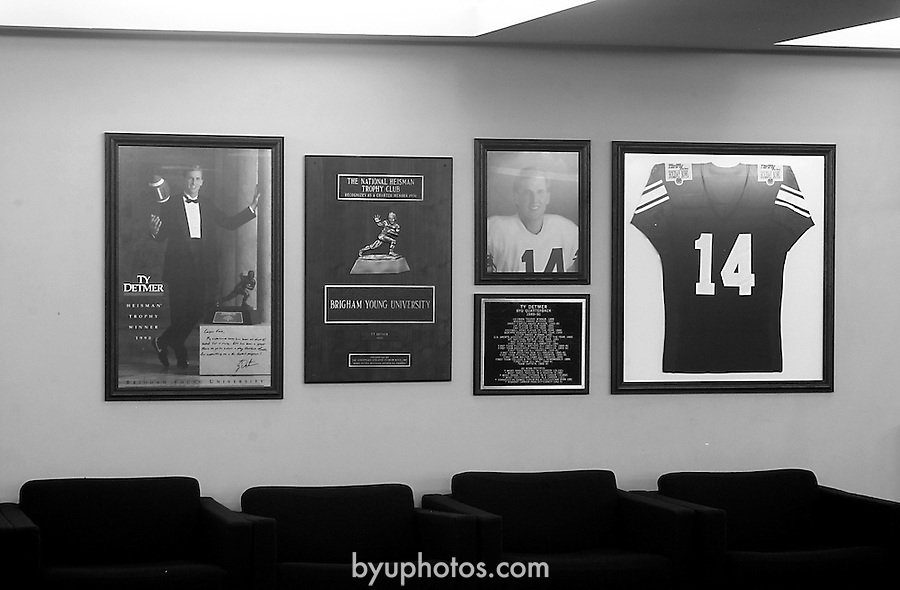 Detmer wall<br /> <br /> 14 Ty Detmer. <br /> <br /> Photo by Mark Philbrick/BYU<br /> <br /> &copy; BYU PHOTO 2009<br /> All Rights Reserved<br /> photo@byu.edu  (801)422-7322