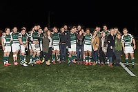 Ealing Trailfinders players pose for a photograph with Hell's Belles Netball Club following victory in the Greene King IPA Championship match between Ealing Trailfinders and London Welsh RFC at Castle Bar , West Ealing , England  on 26 November 2016. Photo by David Horn / PRiME Media Images