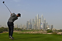Paul Waring (ENG) on the 8th tee during Round 1 of the Omega Dubai Desert Classic, Emirates Golf Club, Dubai,  United Arab Emirates. 24/01/2019<br /> Picture: Golffile | Thos Caffrey<br /> <br /> <br /> All photo usage must carry mandatory copyright credit (&copy; Golffile | Thos Caffrey)