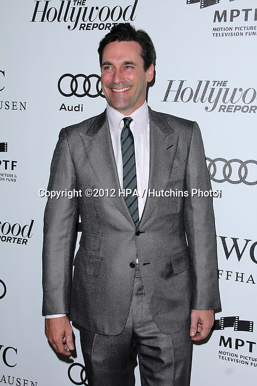 """LOS ANGELES - OCT 20:  Jon Hamm arrives at  the """"Reel Stories, Real Lives"""" Event at Milk Studios on October 20, 2012 in Los Angeles, CA"""