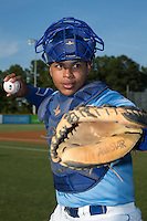 Burlington Royals catcher Xavier Fernandez (34) poses for a photo prior to the game against the Danville Braves at Burlington Athletic Park on August 13, 2015 in Burlington, North Carolina.  The Braves defeated the Royals 6-3. (Brian Westerholt/Four Seam Images)