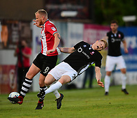 Lincoln City's Elliott Whitehouse is fouled by Exeter City's Robbie Simpson<br /> <br /> Photographer Chris Vaughan/CameraSport<br /> <br /> The EFL Sky Bet League Two Play Off Second Leg - Exeter City v Lincoln City - Thursday 17th May 2018 - St James Park - Exeter<br /> <br /> World Copyright &copy; 2018 CameraSport. All rights reserved. 43 Linden Ave. Countesthorpe. Leicester. England. LE8 5PG - Tel: +44 (0) 116 277 4147 - admin@camerasport.com - www.camerasport.com