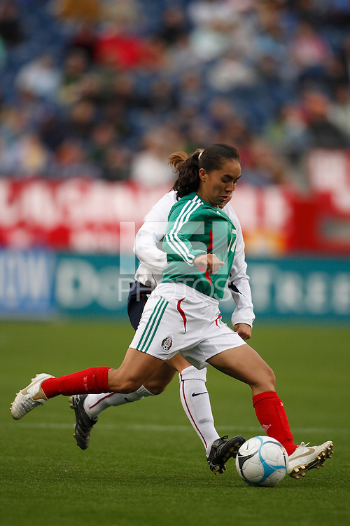 Mexico forward (17) Monica Ocampo. The USA Women's National Team defeated Mexico 5-0 in an international friendly at Gillette Stadium, Foxbourgh, MA, on April 14, 2007.