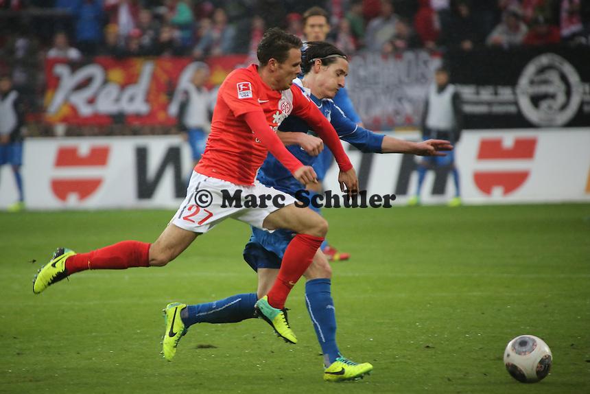 Nicolai Müller (Mainz) gegen Sebastian Rudy (Hoffenheim) - 1. FSV Mainz 05 vs. TSG 1899 Hoffenheim, Coface Arena, 8. Spieltag