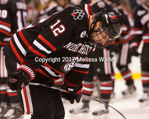 Zach Aston-Reese (NU - 12) - The Harvard University Crimson defeated the Northeastern University Huskies 4-3 in the opening game of the 2017 Beanpot on Monday, February 6, 2017, at TD Garden in Boston, Massachusetts.