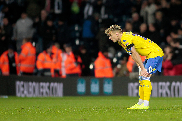 Leeds United's Ezgjan Alioski shows his dejection at the final whistle<br /> <br /> Photographer David Shipman/CameraSport<br /> <br /> The EFL Sky Bet Championship - West Bromwich Albion v Leeds United - Saturday 10th November 2018 - The Hawthorns - West Bromwich<br /> <br /> World Copyright © 2018 CameraSport. All rights reserved. 43 Linden Ave. Countesthorpe. Leicester. England. LE8 5PG - Tel: +44 (0) 116 277 4147 - admin@camerasport.com - www.camerasport.com