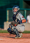 20 August 2017: Connecticut Tigers catcher Joey Morgan, a 3rd round draft pick for the Detroit Tigers, glances back to the dugout for a sign during game action against the Vermont Lake Monsters at Centennial Field in Burlington, Vermont. The Lake Monsters rallied to edge out the Tigers 6-5 in 13 innings of NY Penn League action.  Mandatory Credit: Ed Wolfstein Photo *** RAW (NEF) Image File Available ***