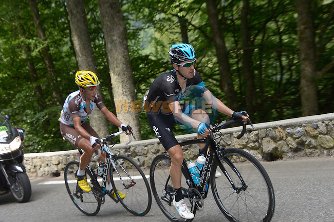 Mikel Nieve Iturralde (ESP) Team Sky and Blel Kadri (FRA) AG2R La Mondiale make a break on the slopes of Col du Tourmalet during Stage 18 of the 2014 Tour de France running 145.5km from Pau to Hautacam. 24th July 2014.<br /> Photo ASO/B.Bade/www.newsfile.ie