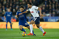Shinji Okazaki of Leicester City battles with Mousa Dembele of Tottenham during the Premier League match between Leicester City and Tottenham Hotspur at the King Power Stadium, Leicester, England on 28 November 2017. Photo by James Williamson / PRiME Media Images.