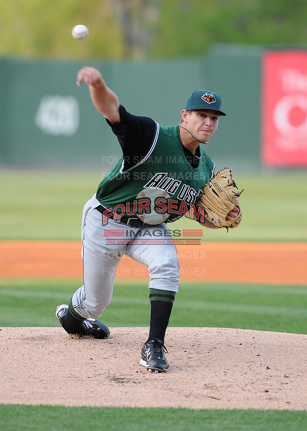 Pitcher Austin Fleet (37)  of the Augusta GreenJackets, Class A affiliate of the San Francisco Giants, in a game against the Greenville Drive on April 9, 2011, at Fluor Field at the West End in Greenville, S.C. Photo by Tom Priddy / Four Seam Images