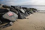 Coastal defences on the North Sea coast in East Anglia at Cobbold's Point, Felixstowe, Suffolk, England