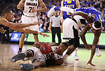 SIOUX FALLS, SD: MARCH 7: Tre'Shawn Thurman #15 of Omaha tries to recover a loose ball against South Dakota State during the Men's Summit League Basketball Championship Game on March 7, 2017 at the Denny Sanford Premier Center in Sioux Falls, SD. (Photo by Dick Carlson/Inertia)