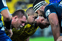 From left, Ross Geldenhuys, Dane Coles and Toby Smith pack down for a scrum during the Super Rugby match between the Hurricanes and Blues at Westpac Stadium in Wellington, New Zealand on Saturday, 15 June 2019. Photo: Dave Lintott / lintottphoto.co.nz