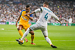 Real Madrid's Sergio Ramos and Apoel's Lorenzo Ebecillo during UEFA Champions League match between Real Madrid and Apoel at Santiago Bernabeu Stadium in Madrid, Spain September 13, 2017. (ALTERPHOTOS/Borja B.Hojas)