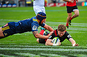 June 3rd 2017, AMI Stadium, Christchurch, New Zealand; Super Rugby; Crusaders versus Highlanders;  Mitchell Drummond of the Crusaders scores a try with Daniel Lienert-Brown of the Highlanders during the Super Rugby match