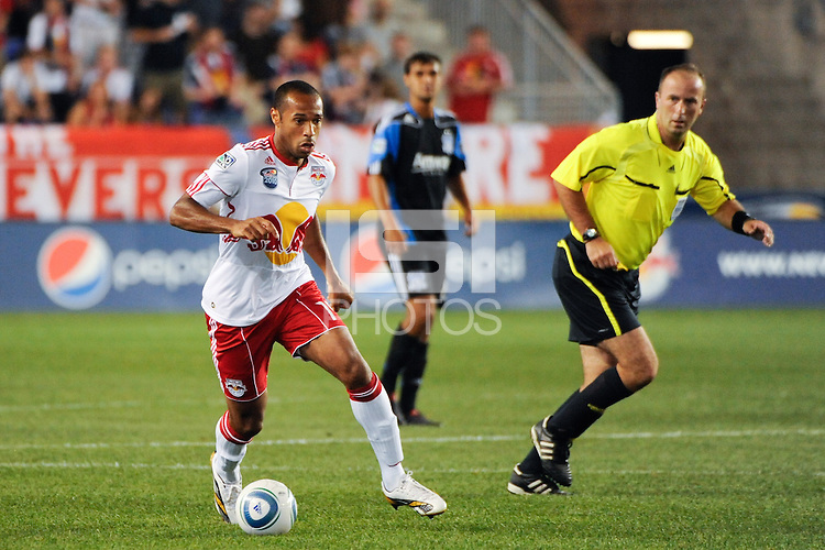 Thierry Henry (14) of the New York Red Bulls. The New York Red Bulls defeated the San Jose Earthquakes 2-0 during a Major League Soccer (MLS) match at Red Bull Arena in Harrison, NJ, on August 28, 2010.