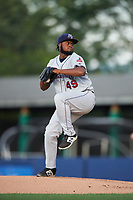 Mahoning Valley Scrappers starting pitcher Felix Tati (49) delivers a pitch during a game against the Williamsport Crosscutters on July 8, 2017 at BB&T Ballpark at Historic Bowman Field in Williamsport, Pennsylvania.  Williamsport defeated Mahoning Valley 6-1.  (Mike Janes/Four Seam Images)