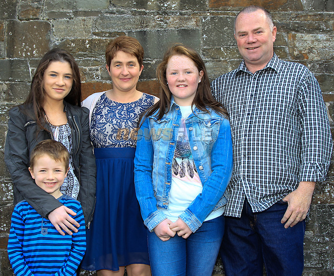 Charlotte, Ann-Marie, Isabella, Des and Christian Dyas during Confirmation at St. Michael's Clogherhead on Saturday 9th May 2015.<br /> Picture:  Thos Caffrey / www.newsfile.ie