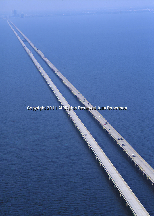 Aerial view of  Highway 10 Bridge, over Lake Pontratrain towards New Orleans, Louisiana