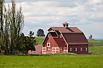 Red wooden barn in rural Wallowa County, Ore.
