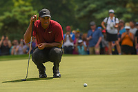 Tiger Woods (USA) lines up his birdie attempt on 2 during 4th round of the World Golf Championships - Bridgestone Invitational, at the Firestone Country Club, Akron, Ohio. 8/5/2018.<br /> Picture: Golffile | Ken Murray<br /> <br /> <br /> All photo usage must carry mandatory copyright credit (© Golffile | Ken Murray)