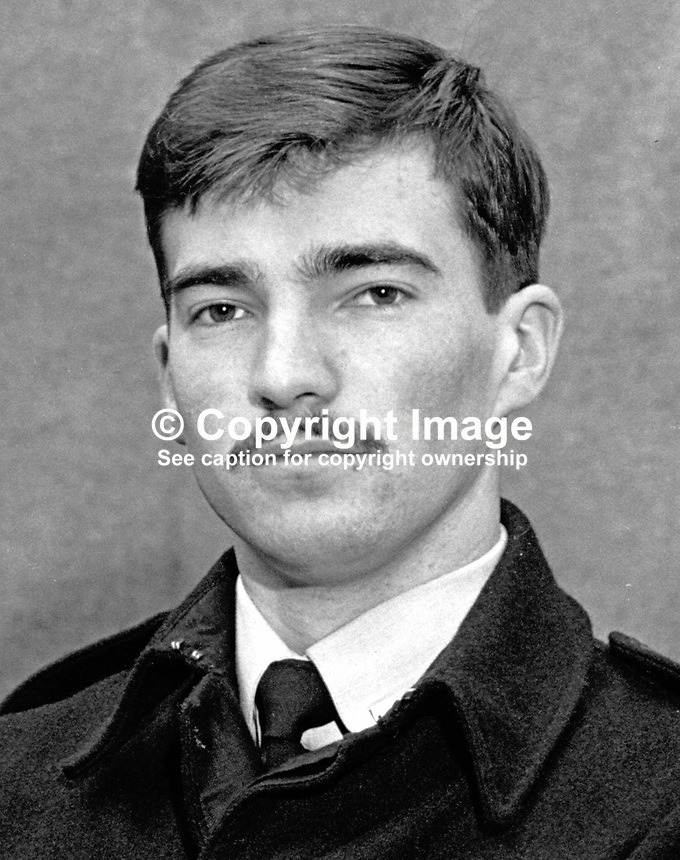 John Haslett, 21 years, Belfast, N Ireland, RUC, Royal Ulster Constabulary, one of two policeman killed in a Provisional IRA gun attack at the junction of the Woodvale Road and Twaddell Avenue, 15th October 2011. The officers were in plain clothes in an unmarked car carrying out reconnaissance duty at a regular flashpoint. The other officer was Cecil Cunningham, also from Belfast. 197110150398JH.<br /> <br /> Copyright Image from Victor Patterson, 54 Dorchester Park, Belfast, UK, BT9 6RJ<br /> <br /> t1: +44 28 9066 1296 (from Rep of Ireland 048 9066 1296)<br /> t2: +44 28 9002 2446 (from Rep of Ireland 048 9002 2446)<br /> m: +44 7802 353836<br /> <br /> e1: victorpatterson@me.com<br /> e2: victorpatterson@gmail.com<br /> <br /> The use of my copyright images is subject to my Terms &amp; Conditions.<br /> <br /> It is IMPORTANT that you familiarise yourself with them. They are available on my website at www.victorpatterson.com.<br /> <br /> None of my copyright images may be used on a website unless they are visibly watermarked, i.e. &copy; Victor Patterson within the body of the visible image. Metadata denoting my copyright must NOT be deleted. <br /> <br /> Web use is extra at currently recommended NUJ rates.