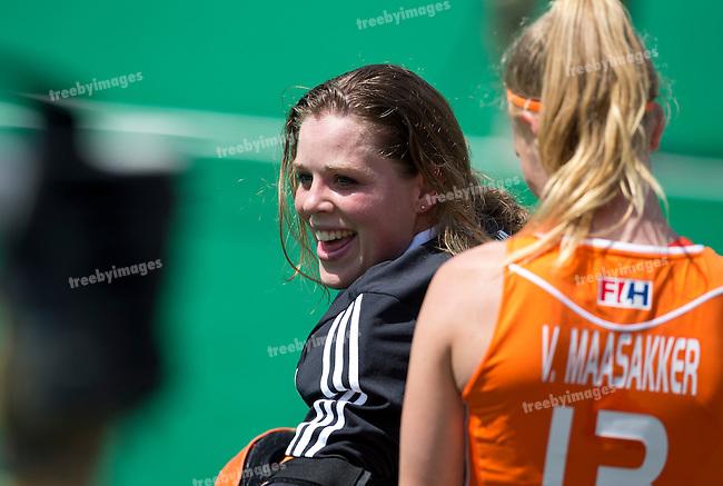 27/06/2015<br /> HWL Semi Final Antwerp Belgium 2015<br /> Netherlands v Italy Women<br /> GK Larissa Meijer<br /> Photo: Grant Treeby